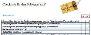 Checkliste Schlepperkauf